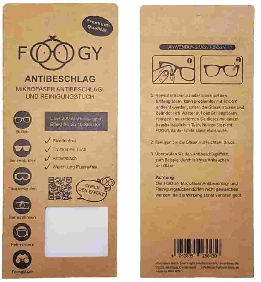 FOOGY Paño de microfibra antivaho para gafas